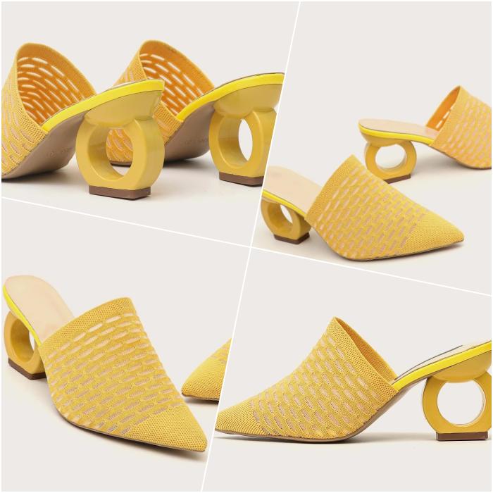 zapatos de tacon amarillos con aro en el tacón