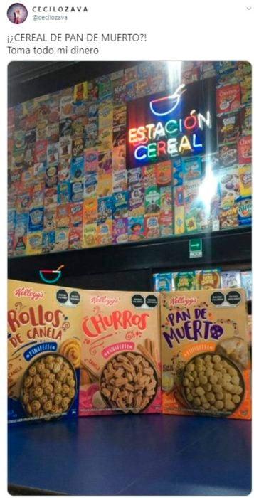 Screen shot de tuit donde hablan acerca del nuevo cereal de Kellogg's
