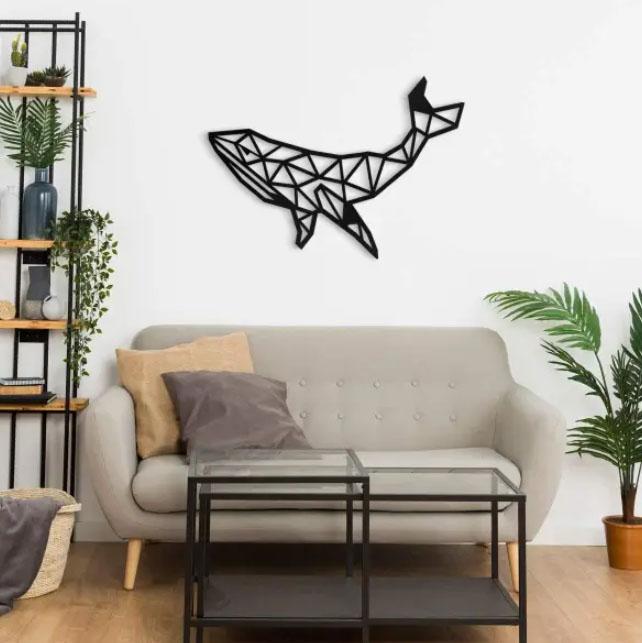 Cuadro decorativo de madera en forma de ballena
