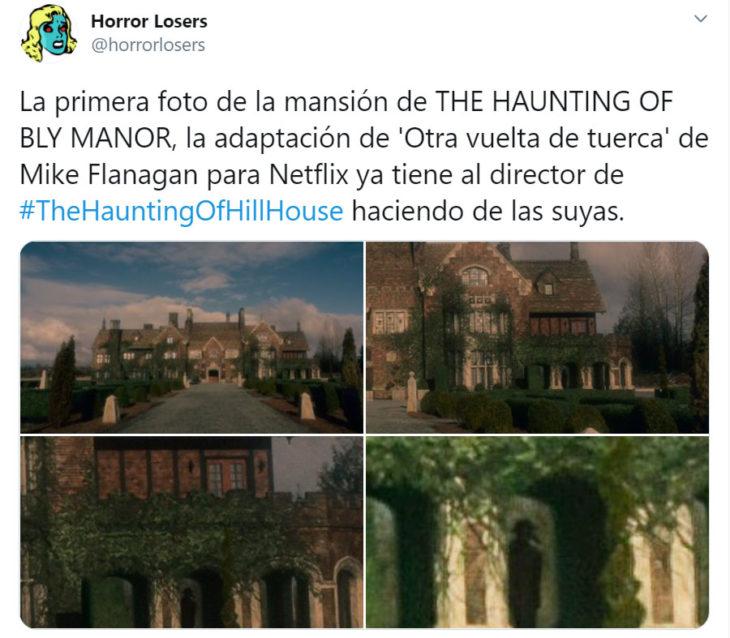 Screenshot de un tweet que hace referencia al trailer de The Hauting of Bly Manor