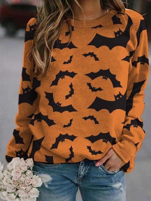 Sudadera inspirada en Halloween, de color naranja y estampado de murciélagos
