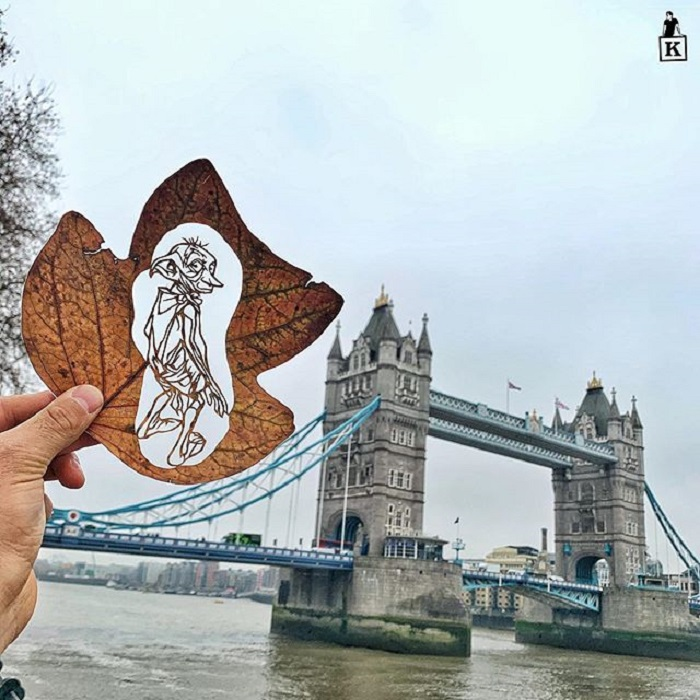 Dibujo en hoja cortada de Kanat Nurtazin de Dobby el elfo doméstico