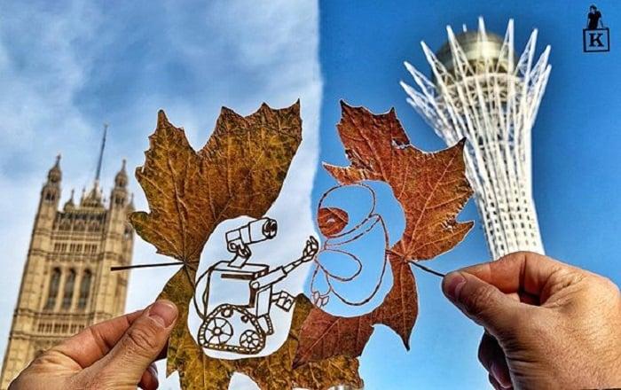 Dibujo en hoja cortada de Kanat Nurtazin de Wall-E y Eva
