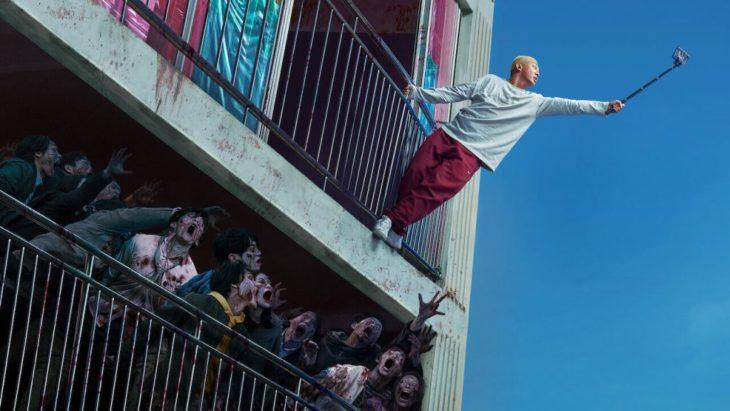 Escena de la película de zombies #Vivo