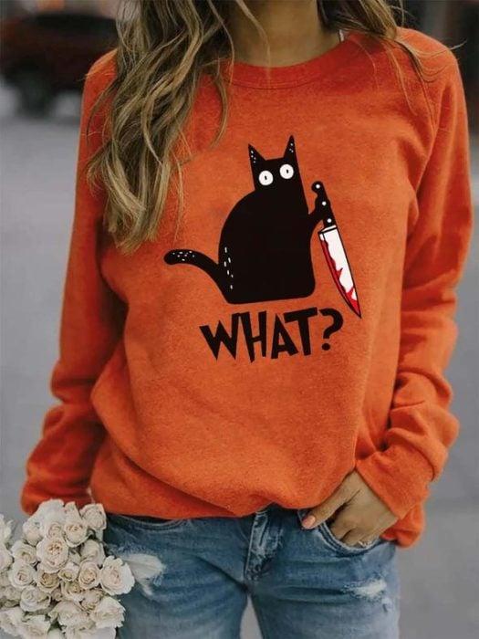 Sudadera inspirada en Halloween, de color naranja, con estampado de gato negro con un cuchillo con sangre