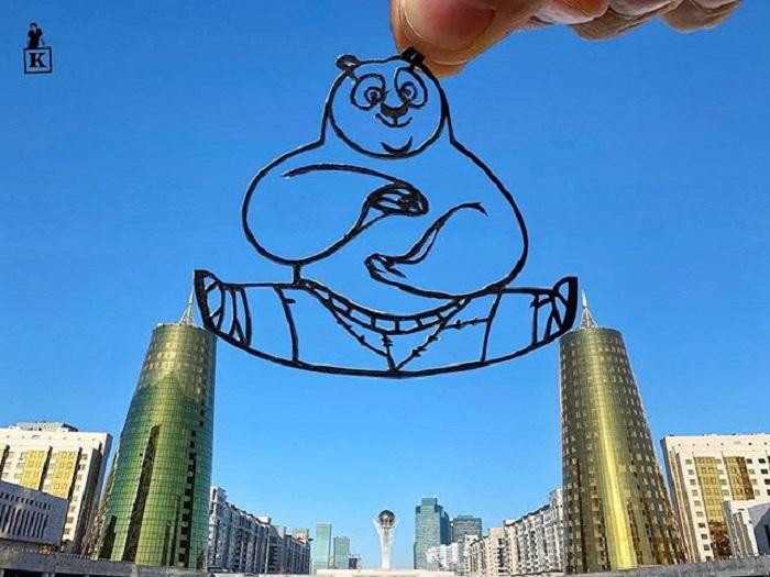 Dibujo en hoja cortada de Kanat Nurtazin de Kung Fu Pande donde sale Po