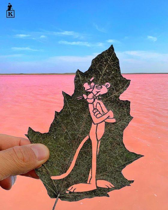Dibujo en hoja cortada de Kanat Nurtazin de la pantera rosa
