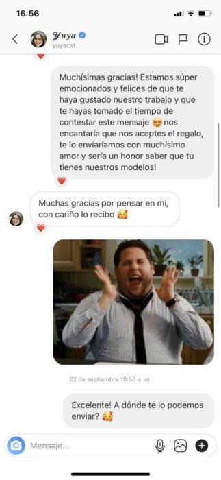 Screenshot de conversación de Adrian con Yuya