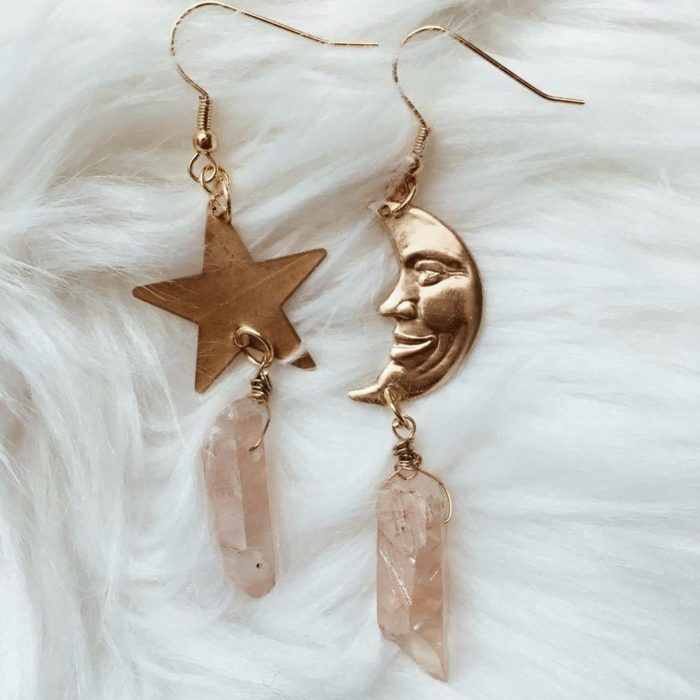Moon and star earrings with rose quartz stone