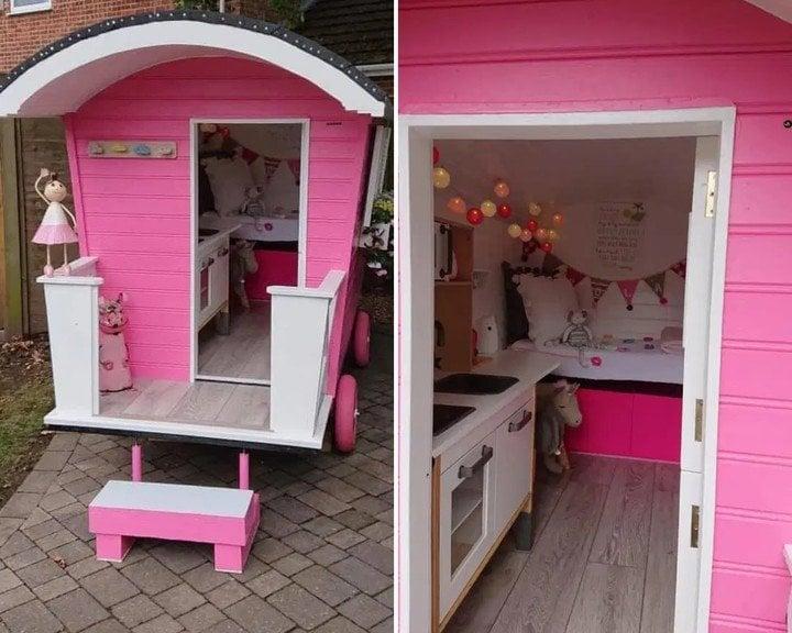 Exterios e interior de una minicabaña rosa con ruedas