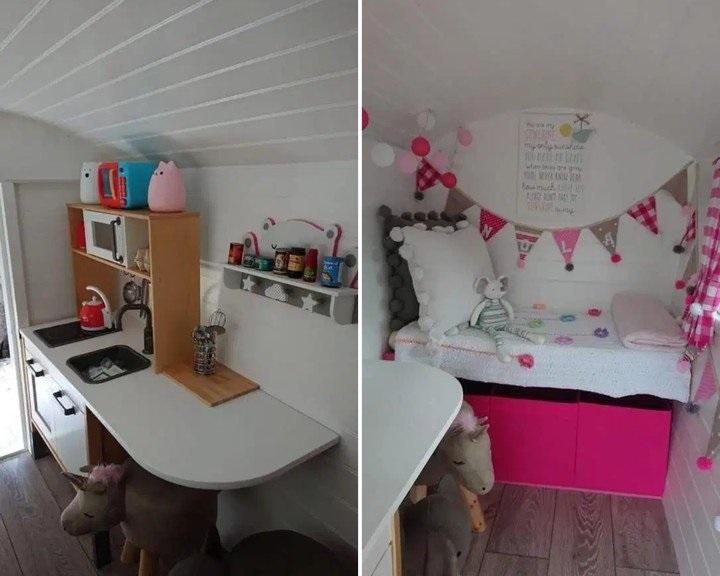 Interior de minicabaña en color blanco con escritorios y una cama pequeña