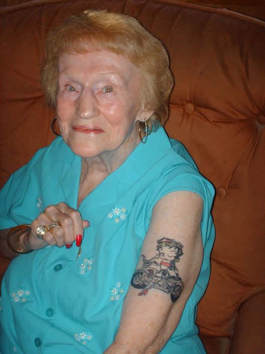 Granny showing her Betty Boop tattoo