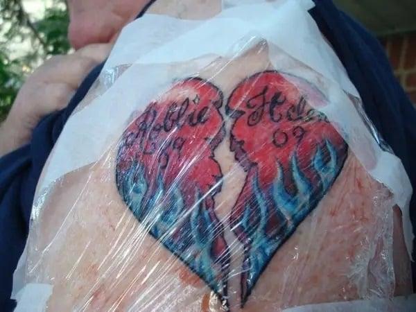Grandpa showing his heart-shaped tattoo