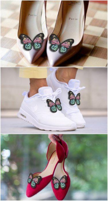clips de mariposa para zapatos; accesorios con mariposas para recibir el otoño