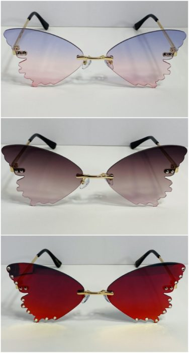 Sunglasses in the shape of a butterfly; accessories with butterflies to welcome autumn