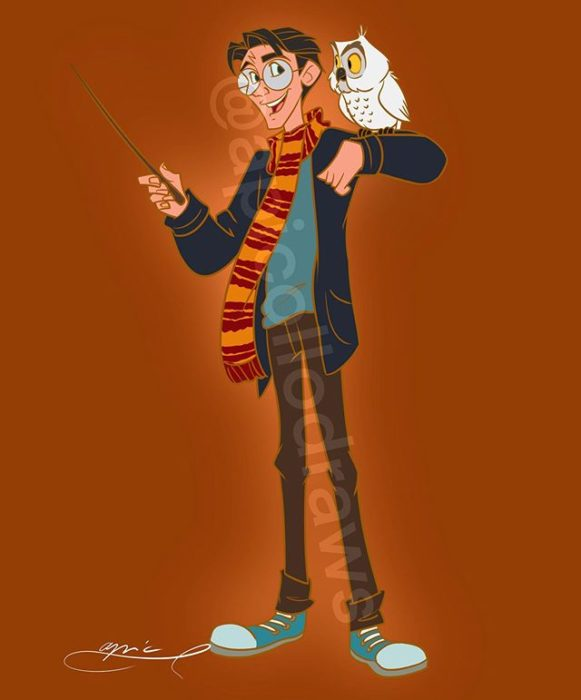 Ilustración de Alex Pick convirtiendo a Milo en Harry Potter
