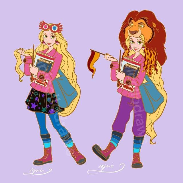 Ilustración de Alex Pick convirtiendo a Rapunzel en Luna Lovegood