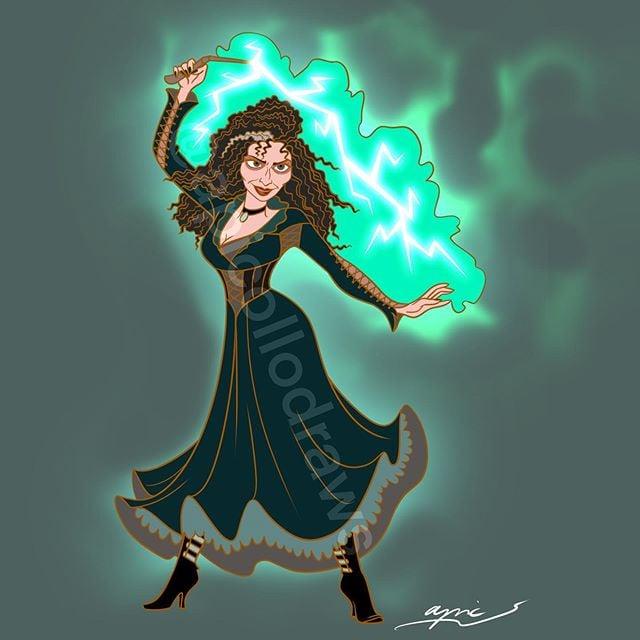 Ilustración de Alex Pick convirtiendo a Madre Ghotel en Bellatrix Lastrange
