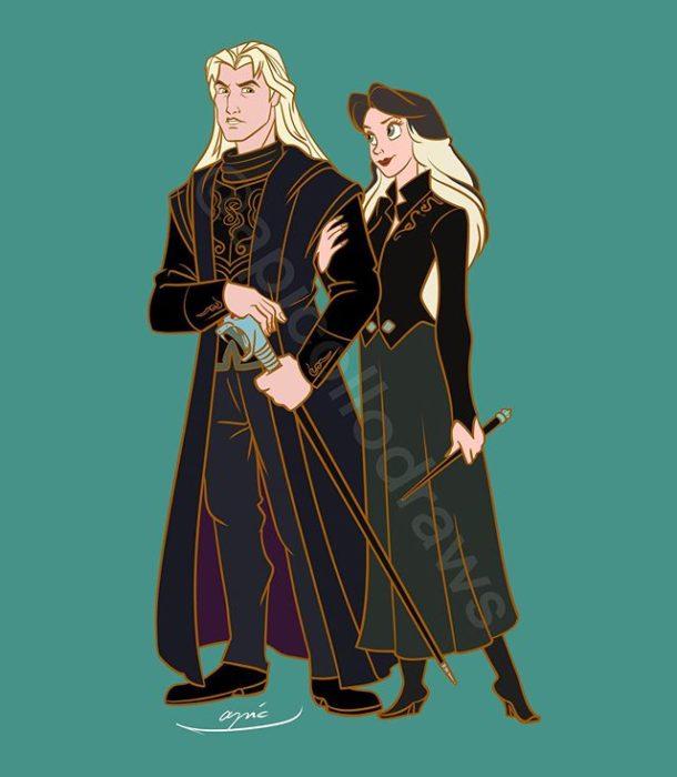 Ilustración de Alex Pick convirtiendo a Jhons Misth y Vanessa en Lucius y Narcissa Malfoy