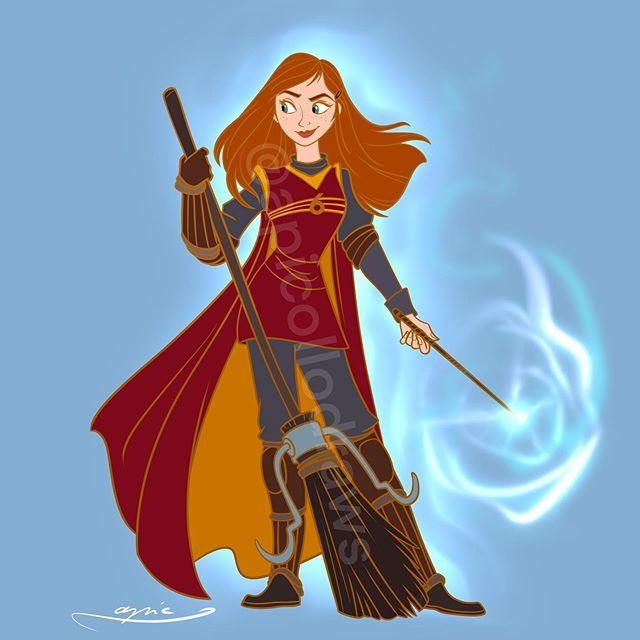 Ilustración de Alex Pick convirtiendo a Anna en Ginny Weasley