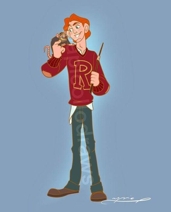 Ilustración de Alex Pick convirtiendo a Hércules en Ron Weasley