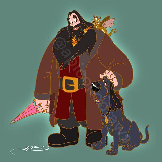 Ilustración de Alex Pick convirtiendo a el rey Triton en Hagrid