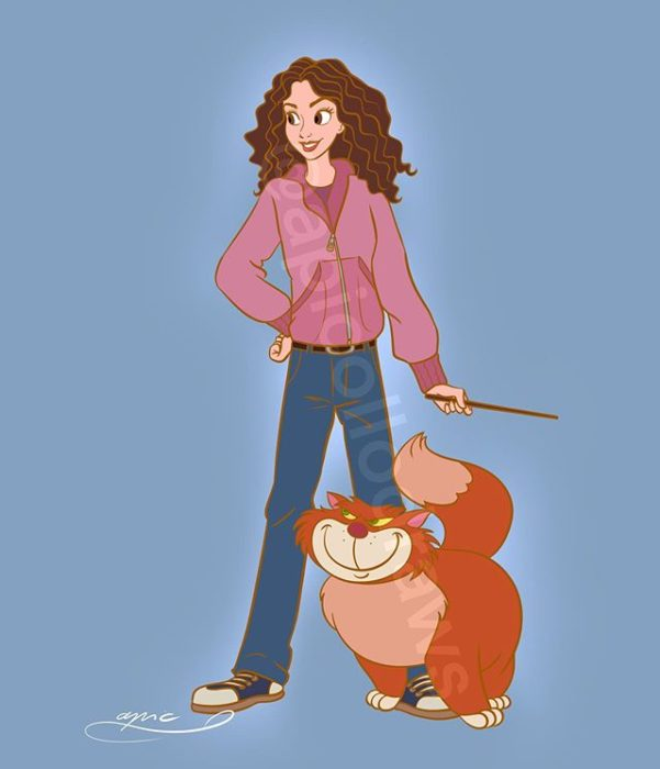 Ilustración de Alex Pick convirtiendo a Bella en Hermione Granger