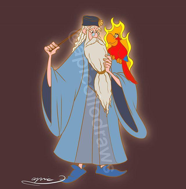 Ilustración de Alex Pick convirtiendo a Merlín en Albus Dumbledore