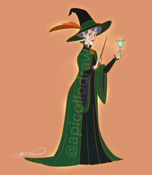 Ilustración de Alex Pick convirtiendo a Lady Tremaine en la profesora McGonagall