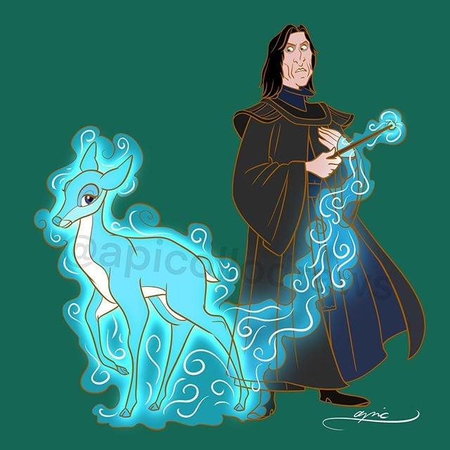 Ilustración de Alex Pick convirtiendo a Claude Frollo en Severus Snape
