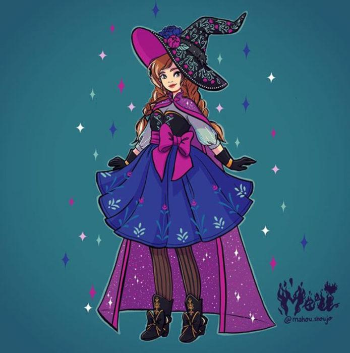 Ana con disfraz de bruja, ilustrada por Meri
