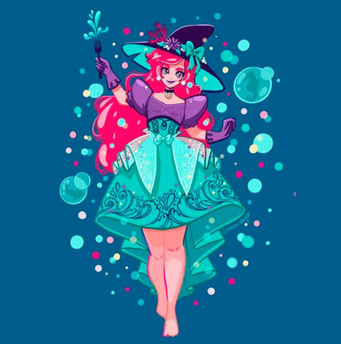 Ariel con disfraz de bruja, ilustrada por Meri