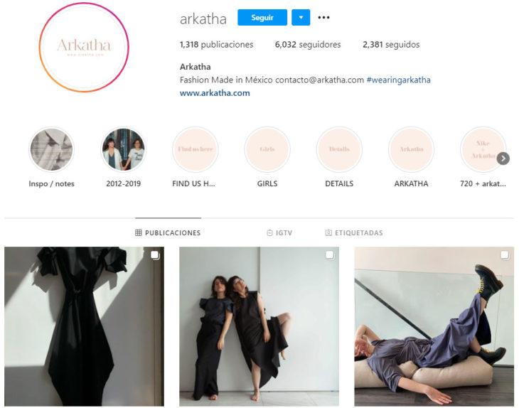 Perfil de instagram de la marca de ropa mexicana Arkhata