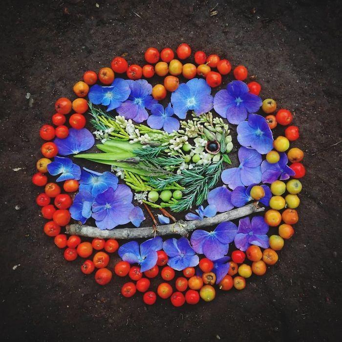 Hannah Bullen-Ryner retratos de aves con hojas