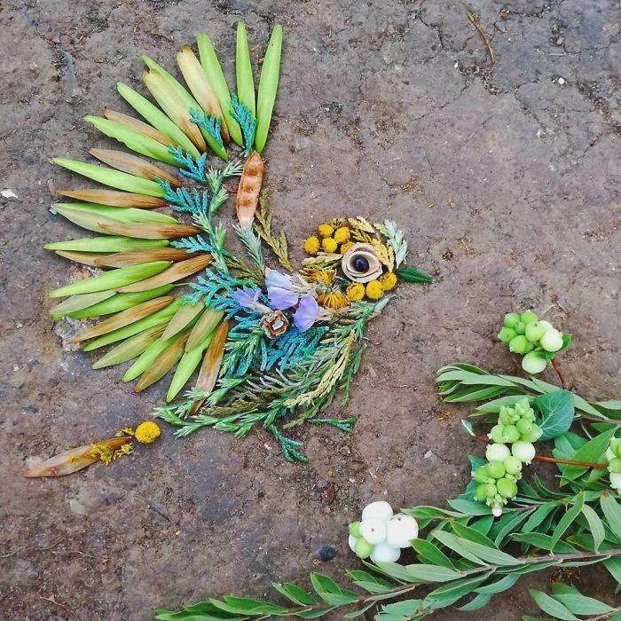 Artista convierte flores, ramas y hojas en hermosos retratos de aves