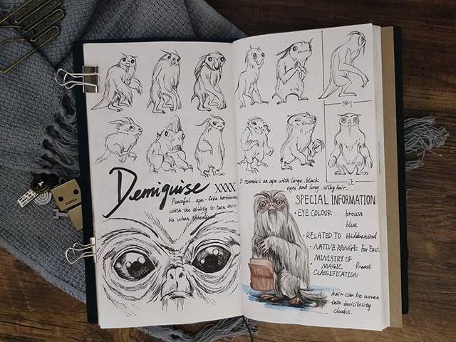 Ilustración del artista hazelnut_lz, inspirada en loas criaturas mágicas de Harry Potter, Demiguise