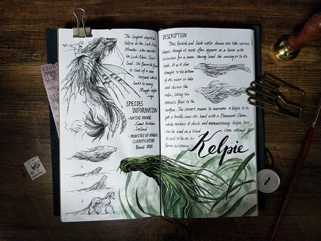 Ilustración del artista hazelnut_lz, inspirada en loas criaturas mágicas de Harry Potter, Kelpie