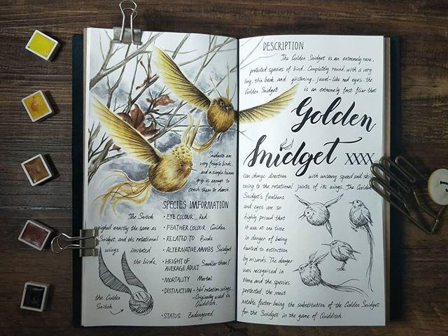 Ilustración del artista hazelnut_lz, inspirada en loas criaturas mágicas de Harry Potter, Snigdet dorado