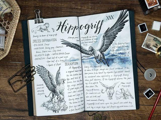 Ilustración del artista hazelnut_lz, inspirada en loas criaturas mágicas de Harry Potter, Hipogrifo