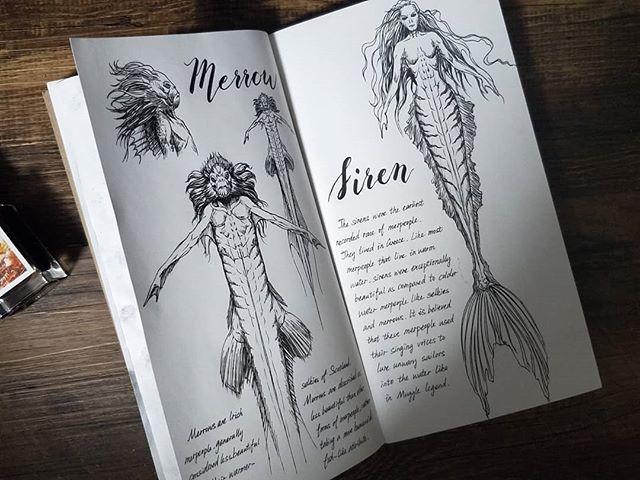 Ilustración del artista hazelnut_lz, inspirada en loas criaturas mágicas de Harry Potter, Sirena