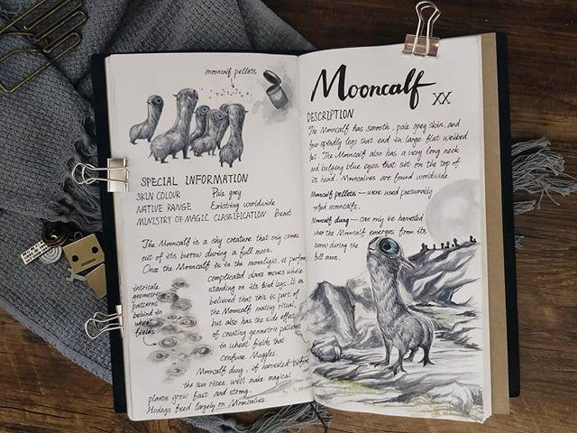 Ilustración del artista hazelnut_lz, inspirada en loas criaturas mágicas de Harry Potter, Mooncalf