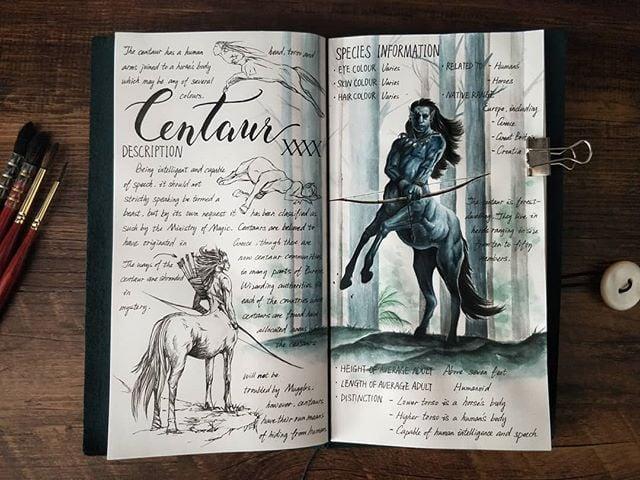 Ilustración del artista hazelnut_lz, inspirada en loas criaturas mágicas de Harry Potter, Centauro