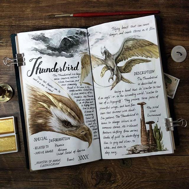 Ilustración del artista hazelnut_lz, inspirada en loas criaturas mágicas de Harry Potter, Ave de trueno