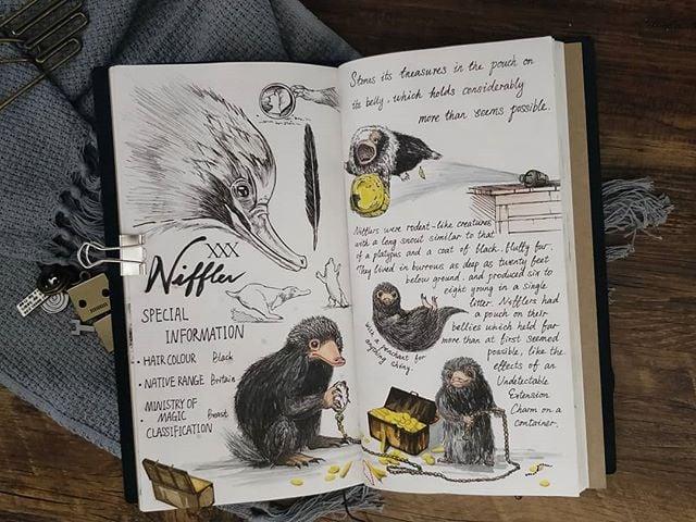Ilustración del artista hazelnut_lz, inspirada en loas criaturas mágicas de Harry Potter, Escarbato