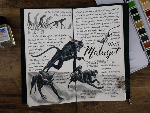 Ilustración del artista hazelnut_lz, inspirada en loas criaturas mágicas de Harry Potter, Matagot
