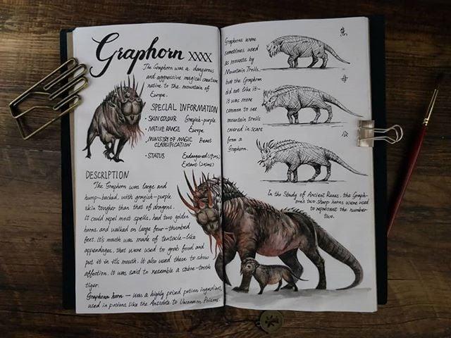 Ilustración del artista hazelnut_lz, inspirada en loas criaturas mágicas de Harry Potter, Graphorn