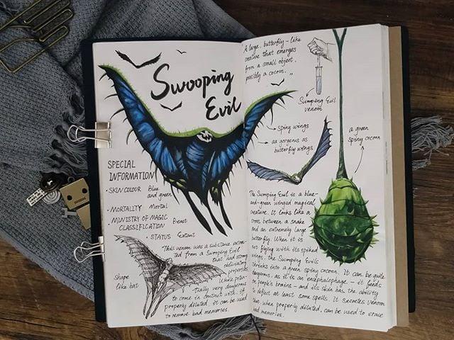 Ilustración del artista hazelnut_lz, inspirada en loas criaturas mágicas de Harry Potter, Swooping Evil