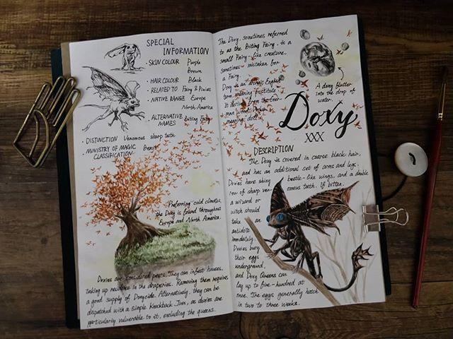 Ilustración del artista hazelnut_lz, inspirada en loas criaturas mágicas de Harry Potter, Doxy