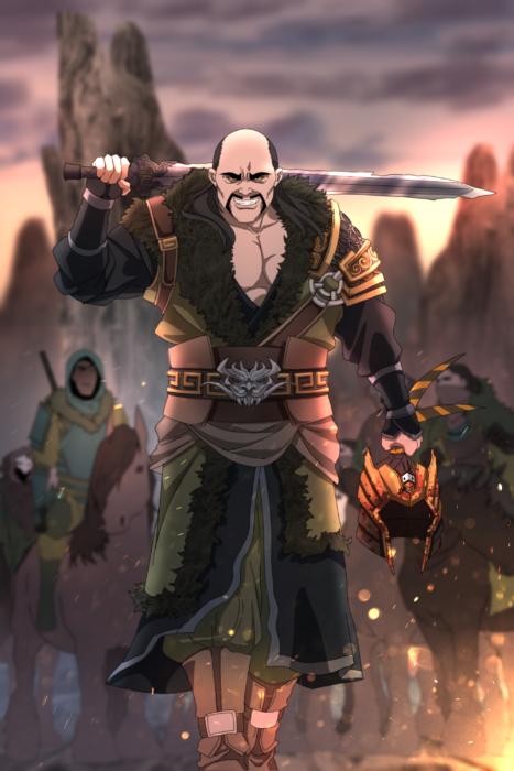Ilustración de Seth Korbin Ducklord basada en los personajes de Mulán, Shan Yu