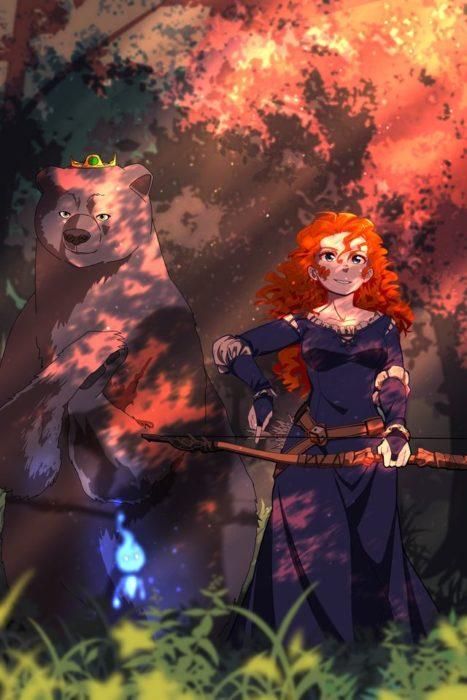 Ilustración de Seth Korbin Ducklord basada en los personajes de Valiente, Mérida